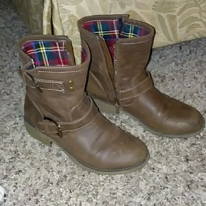 Brown ankle booties with plaid lining